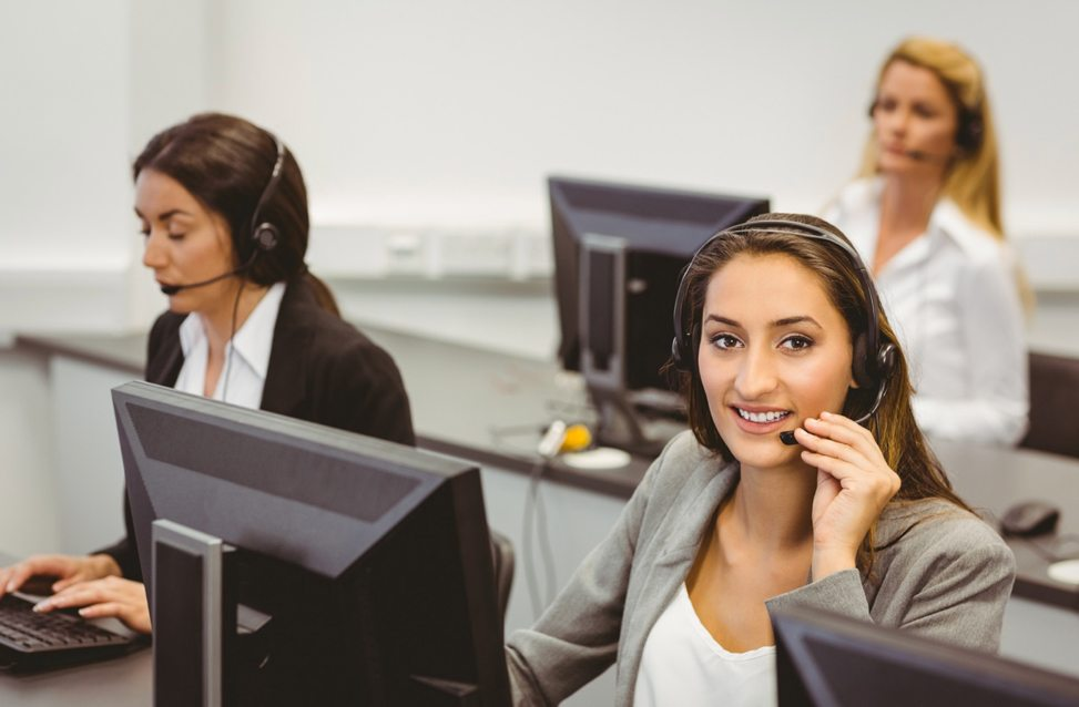 alt: 3 women at a call centre order taking over the telephone