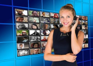 Woman in Modern Call Center
